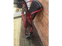 Four Wheeled Rollator - Cable Brakes - RUBY RED Light weight