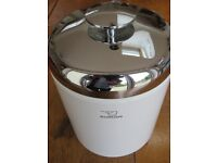 Zojirushi White & Stainless Steel Ice Bucket, with ice tongs & inbuilt draining tray