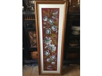 Vintage large tapestry/ beadwork 47 x 16.5 inches panel framed