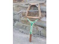 Vintage Retro Wooden Wood Dunlop Club Tennis Racket Green White Old with Press Rackett Raquet