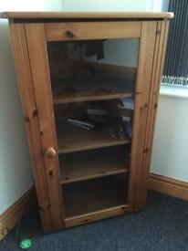 Beautiful solid wood corner cabinet with glass door