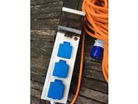 Electric mains power unit for camping
