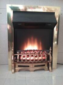 Coal effect brass hearth convector heater