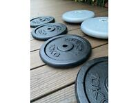 "10kg weight plates x 2 - 1"" hole (28mm)"