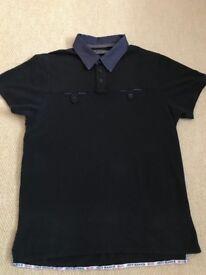 Jeff Banks - Men's Black Polo Top with dark denim collar size large