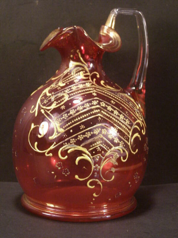 ~19 c Antique Moser Enamel Bohemian Cranberry Glass Pitcher Decanter Bottle Jug~