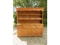 Old Large Solid Pine Welsh Dresser