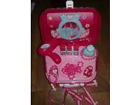 Hiveseen Pretend Makeup Set Girls -Princess Suitcase, Hair Dryer, Brushes, Lipsticks, Mirror * LS17