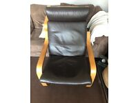 IKEA poang dark brown leather chair and footstool