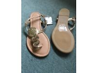 Brand new gold sandals from primark size 4