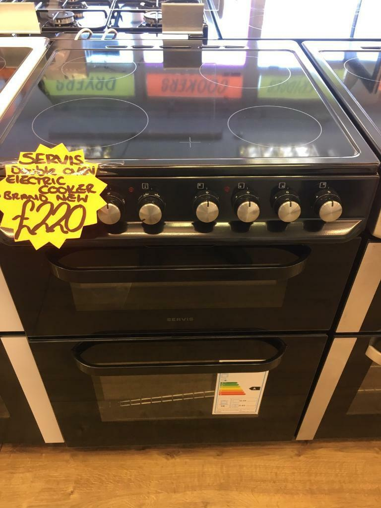 SERVIS 60CM BRAND NEW CEROMIC TOP ELECTRIC COOKER IN BLACKin Bransholme, East YorkshireGumtree - SERVIS 60CM brand new ceromic top cooker• 60cm wide • Ceromic top • electric cooker • double oven and grill • in black • fully complete • guaranteed • less than 1 year old all our items are in perfect condition and in perfect working...