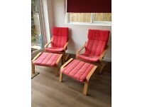 Two Ikea Poang Chairs with Footstools
