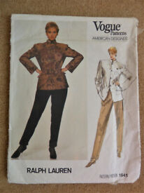Vogue 1641 Ralph Lauren 1980's Jacket and Pants Sewing Pattern Size 12 American Designer