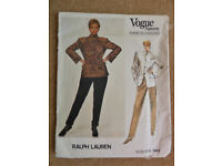 Vogue Ralph Lauren 1980's Jacket and Pants Sewing Pattern 1641 Size 12 American Designer
