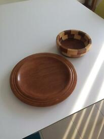 Turned wooden dishes