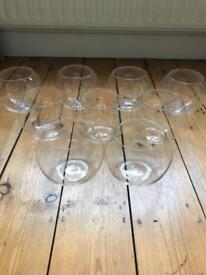 9 x fishbowl glass vases