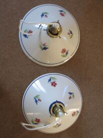 Pair matching ceramic lampshades. Colourful flower decorations.