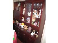 "Mahogany effect display unit for living or dining room. Size: W 76"" H 72"" D 11"" (top) 16"" (base)."