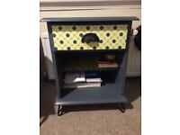 Dark grey bedside table on black hairpin legs