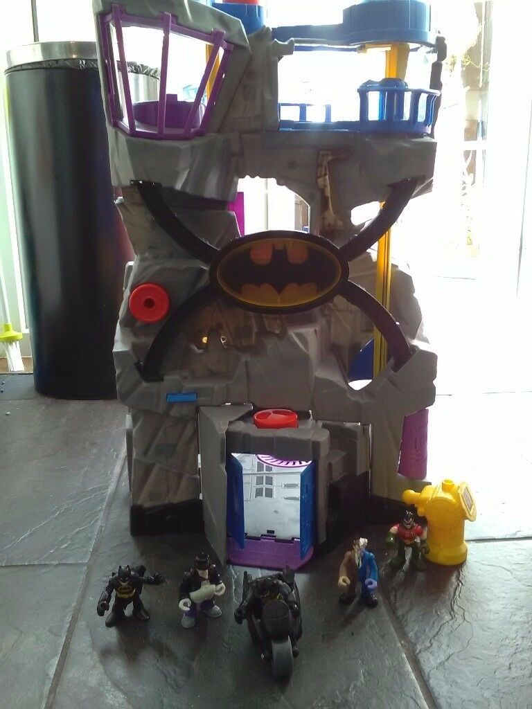 Fisher price Bat cave and Jail plus vehicles and figures VGC