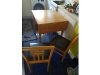 Solid wooden single folding leaf table and chairs