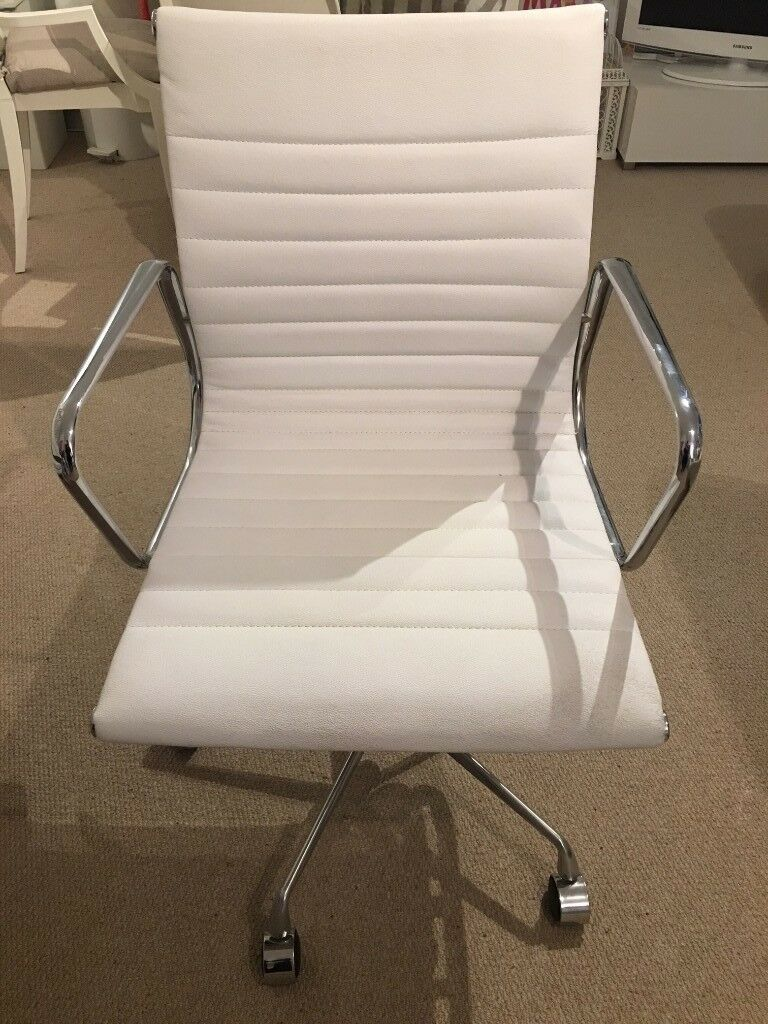 Replica Eames White Genuine Leather Office Chair With Adjule