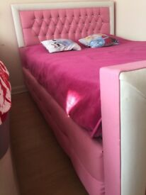 Princess Girl Pink leather bed Double bed with foam mattress with diamonds Ready for collection:)