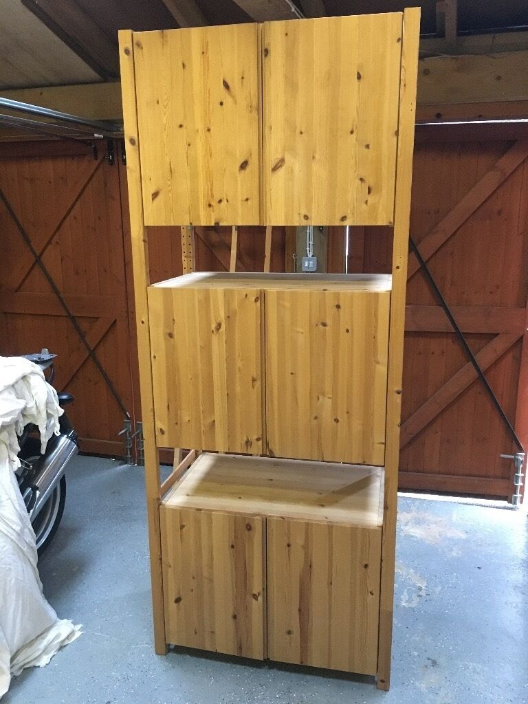 Ikea ivar cabinet system 3 cabinets with doors and shelves can be arranged many