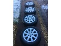 4 x Used Bridgestone Tyres with VW Alloys in Very Good Condition - 195/65R15 91H