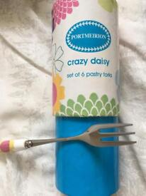 Set of 6 Crazy daisy Pastry forks