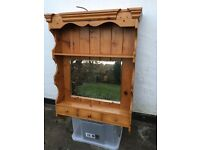 Pine Bathroom Wall Vanity Unit with Bevelled Mirror, Shelf and Small Drawers