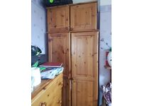 Pine wardrobe with bottom drawer and top cupboard