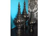 Urn lidded pots storage & decorative black contemporary modern