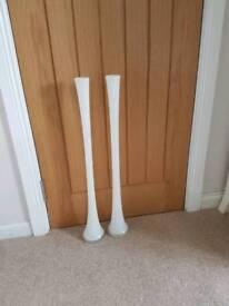 2 white gloss tall vases