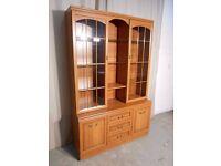 cheaper 35, 00 now,,,,Two Piece Veneered Oak Effect Display Cabinet