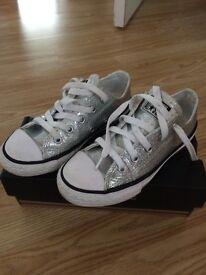Silver glitter converse size 12