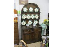 ORNATE OAK SHAPED DRESSER. ARCHED SHAPED DETACHABLE TOP. IDEAL AS IS OR PAINTED. DELIVERY POSSIBLE
