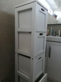 White bathroom storage unit