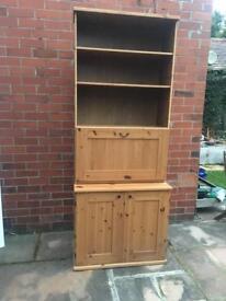 Bureau/computer desk/shelves pine unit
