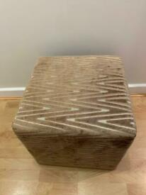 Patterned cube foot stool