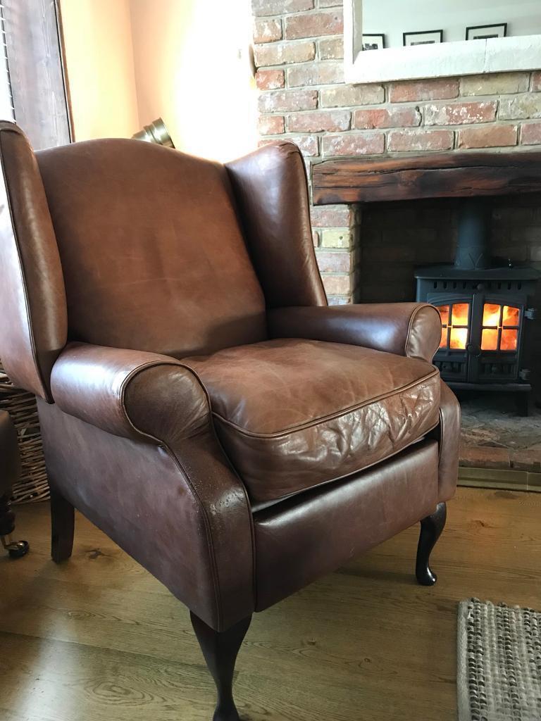 Laura Ashley Denbigh recliner leather armchair wingback ...