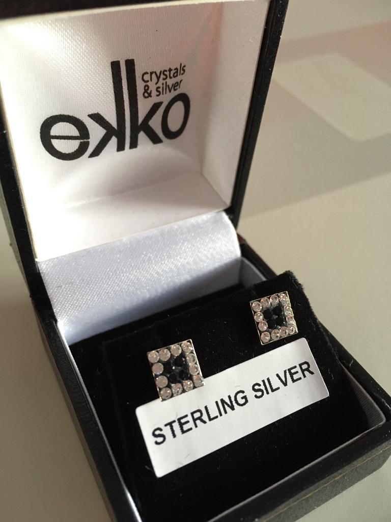SOLD Sterling silver stud diamanté earrings