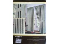 """Curtains - jacquard duck egg 46"""" x 54"""" with tie backs"""