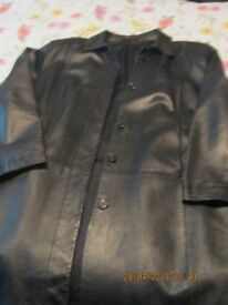 3/4 Black leather coat M&S and Brown leather jacket both size 18