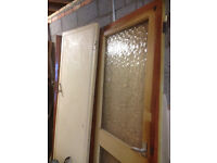 10 internal old doors, 6'6 x 2'6 one glazed, one solid the rest hollow free to collector