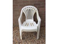 Garden Chairs, White Plastic