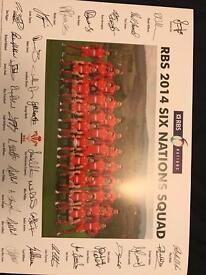 RBS 2014 Six nations squad photo signed