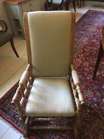 American rocking chair, Genuine antique, light wood