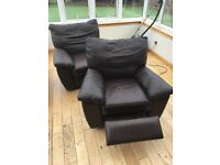 2 IKEA reclining leather chairs