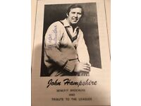 Signed John Hampshire Benefit Brochure and Tribute to the Leagues 1976
